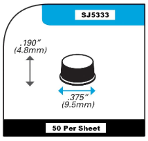 "Bumpons - SJ5333 - 50 Per Sheet .190"" (4.8mm) Height .375"" (9.5mm) Diameter"